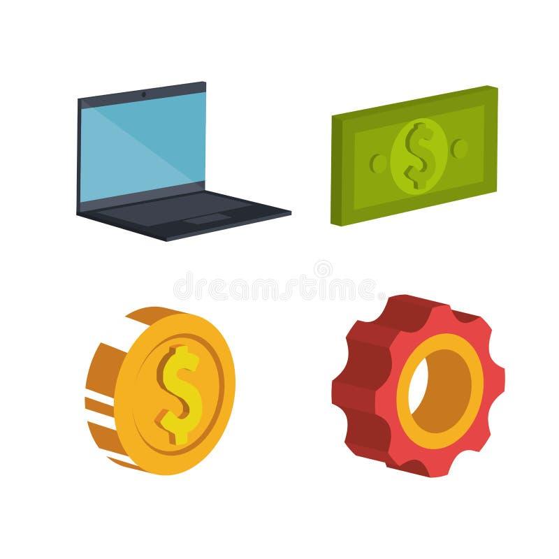 Iconos del isometrics del comercio electrónico ilustración del vector