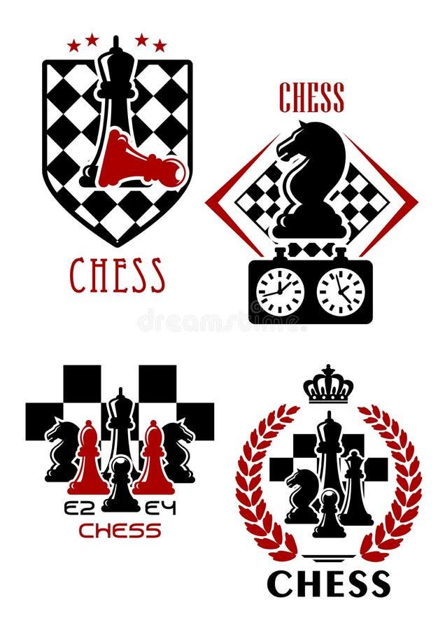 Iconos del juego de ajedrez con las piezas de ajedrez y el contador de tiempo stock de ilustración