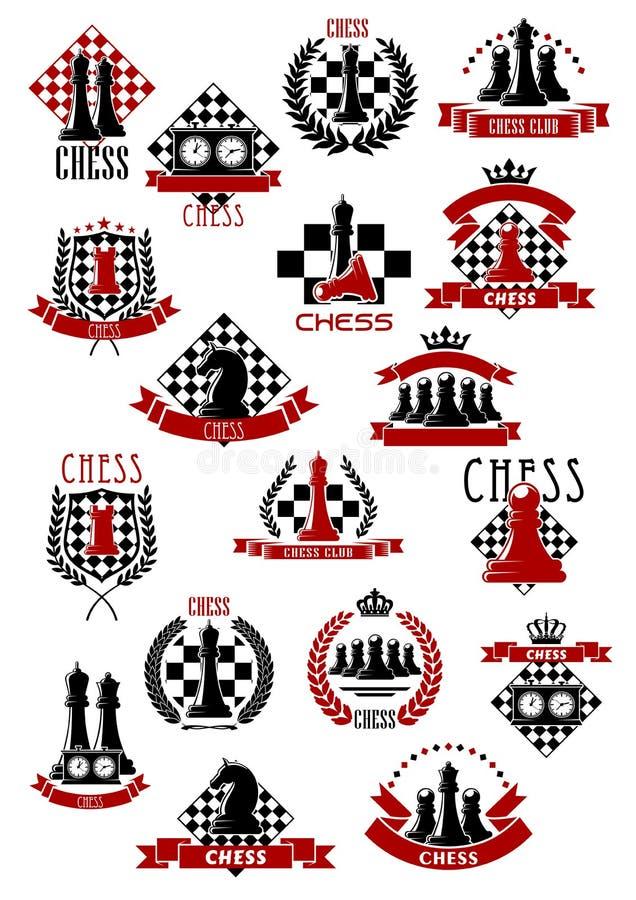 Iconos del juego de ajedrez con los tableros de ajedrez y los pedazos stock de ilustración