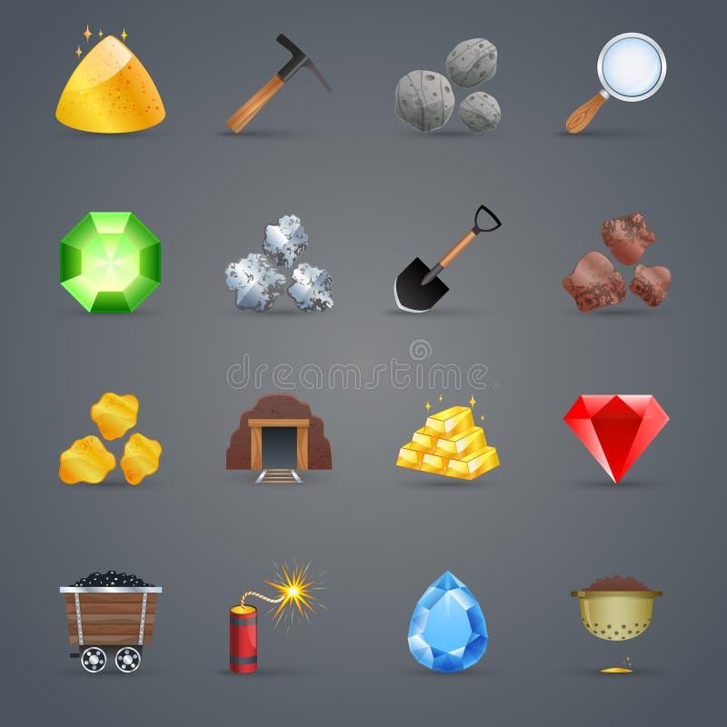 Iconos del juego de la explotación minera libre illustration