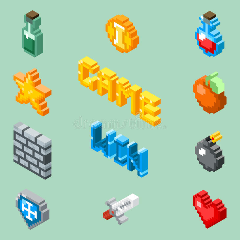 Iconos del juego del arte del pixel vector isométrico de 8 pictogramas del pedazo libre illustration