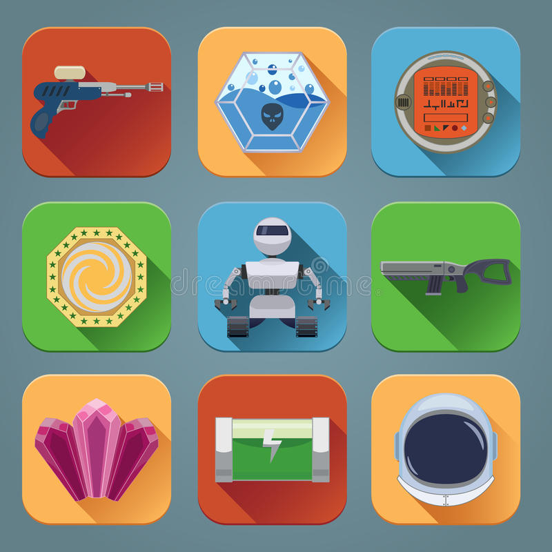 Iconos del juego del espacio planos ilustración del vector