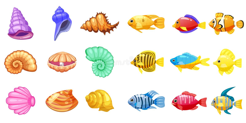 Iconos del juego del vector de la historieta con la concha marina, pescado tropical del arrecife de coral colorido, perla, para e libre illustration