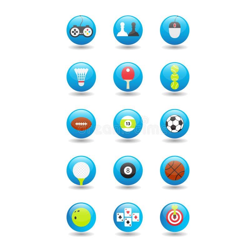 Iconos del juego y del deporte Icono brillante del botón Iconos coloreados con los artículos para los juegos stock de ilustración