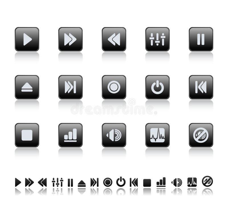 Iconos del jugador y del sonido ilustración del vector