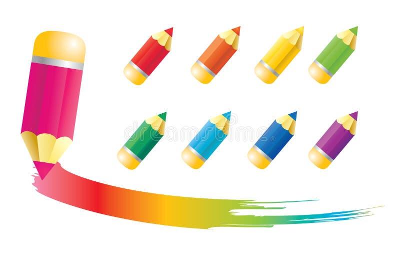 Iconos del lápiz stock de ilustración