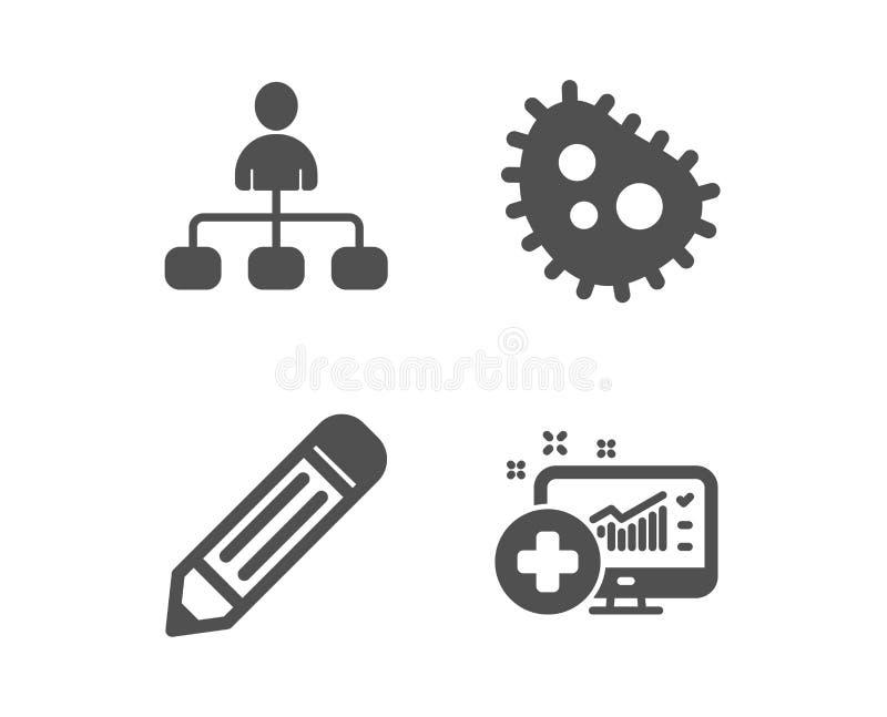 Iconos del lápiz, de las bacterias y de la gestión Muestra m?dica del analytics Corrija los datos, anti-bacteriano, agente Vector ilustración del vector