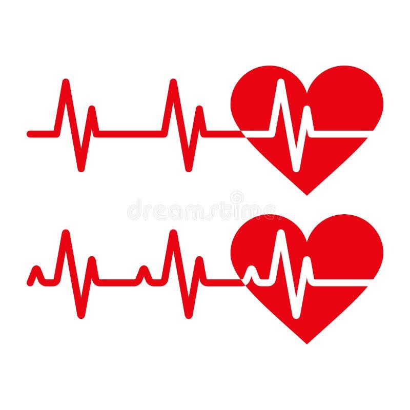 Iconos del latido del corazón stock de ilustración