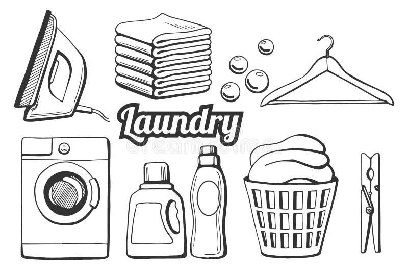Iconos del lavadero fijados stock de ilustración