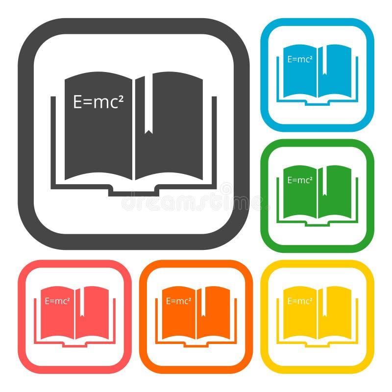 Iconos del libro de la ciencia fijados ilustración del vector