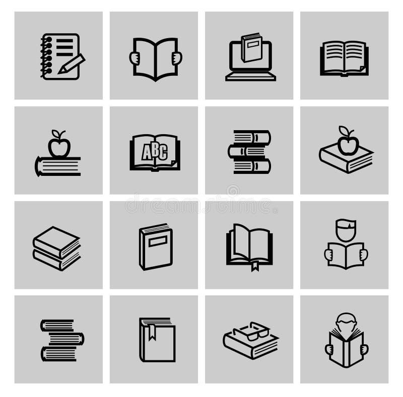 Iconos del libro negro del vector fijados stock de ilustración