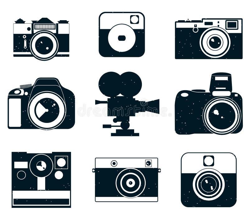 Iconos del logotipo de la cámara Iconos de las fotos stock de ilustración