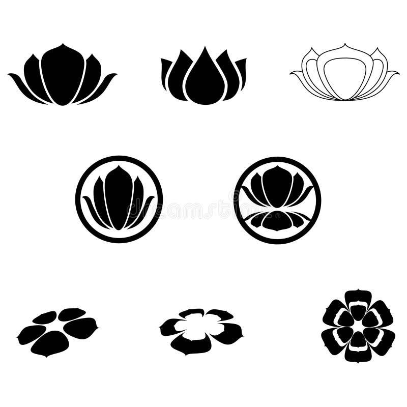 Iconos del loto ilustración del vector