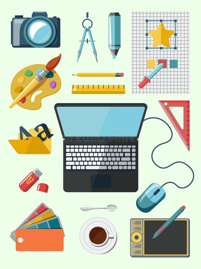 Iconos del lugar de trabajo del diseñador libre illustration
