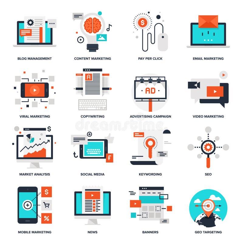Iconos del márketing de Digitaces ilustración del vector