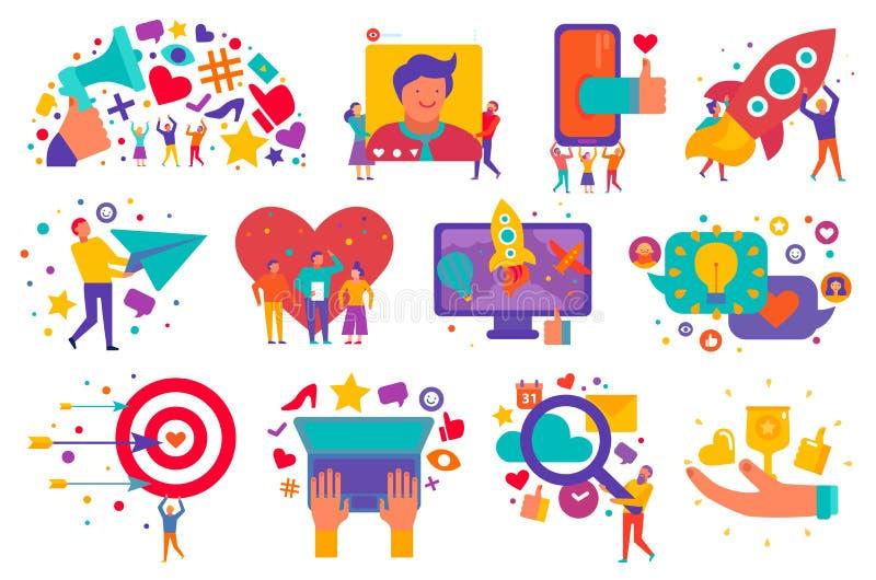 Iconos del márketing de Digitaces fijados stock de ilustración