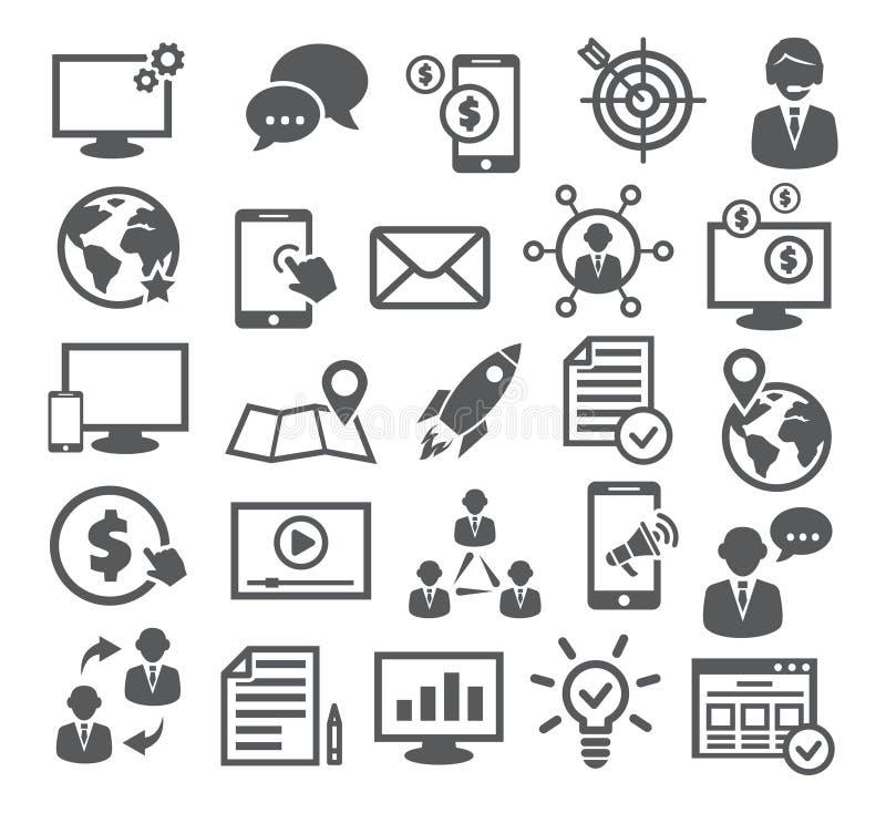 Iconos del márketing de Internet stock de ilustración