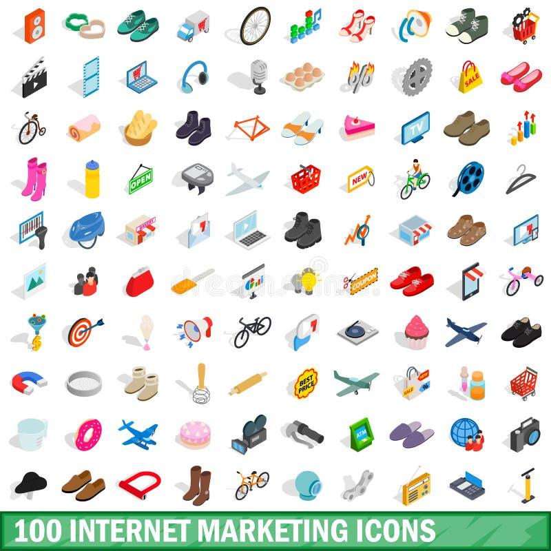 100 iconos del márketing de Internet fijados ilustración del vector