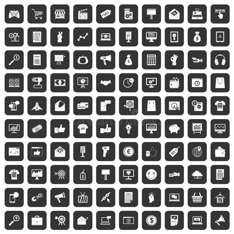 100 iconos del márketing de Internet fijados negros libre illustration