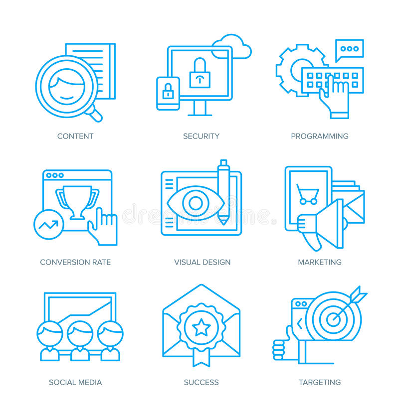 Iconos del márketing de SEO y de Digitaces libre illustration
