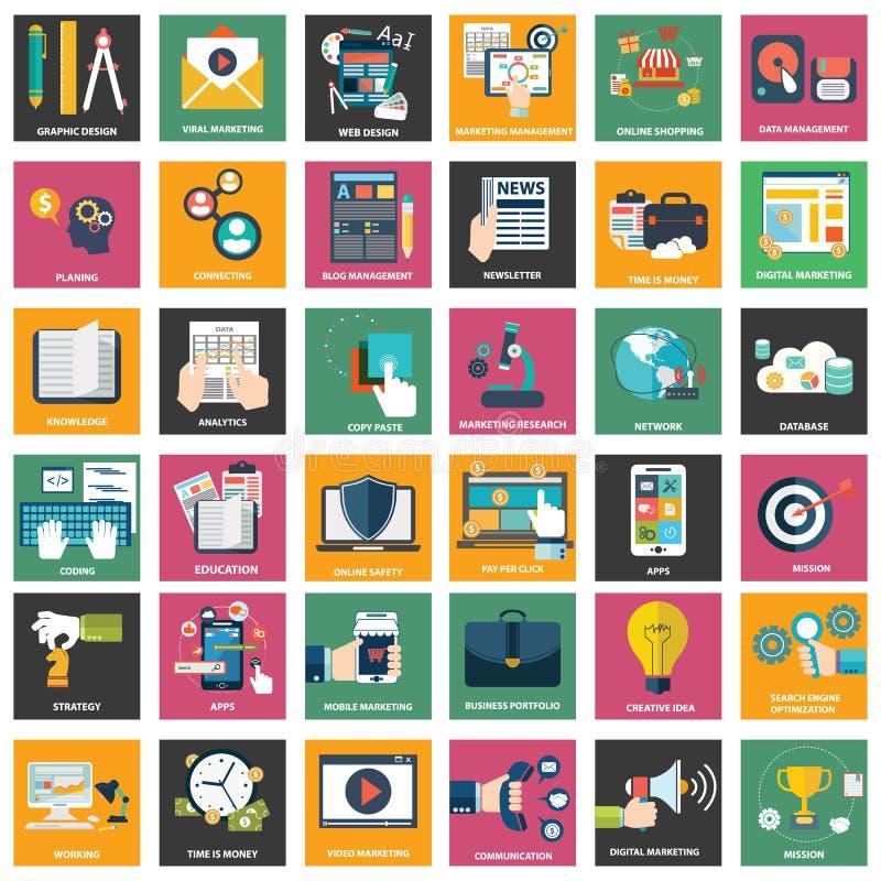 Iconos del márketing digital, publicidad video, campaña social de los medios, promoción del hoja informativa, paga por el servici ilustración del vector