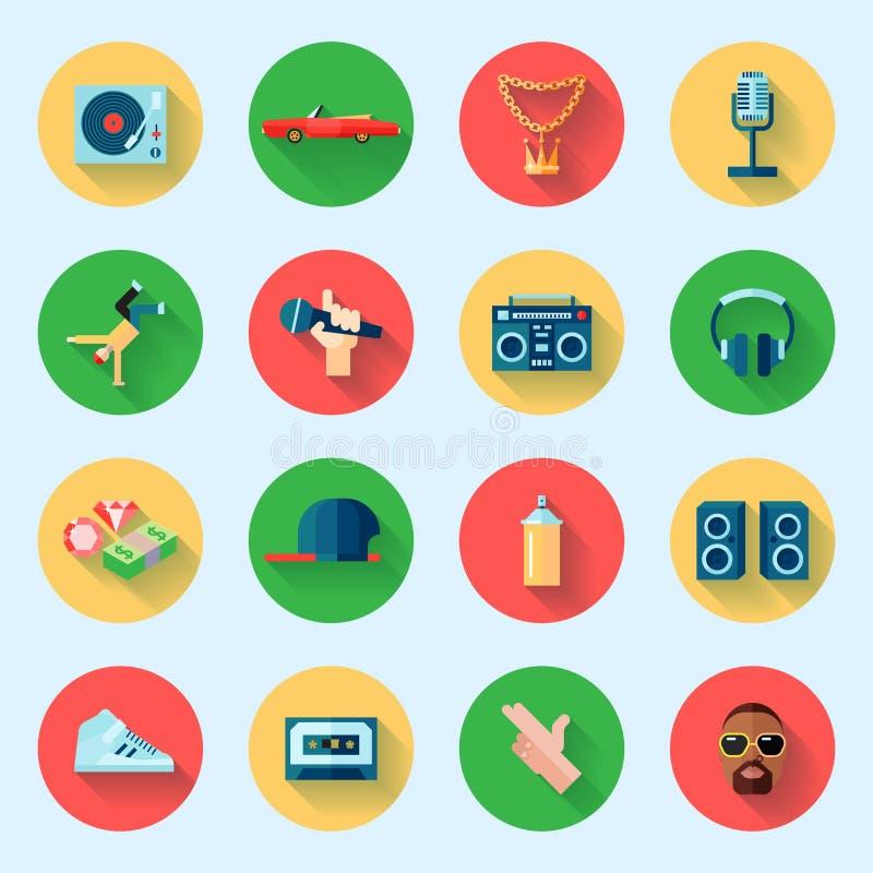 Iconos del música rap fijados stock de ilustración