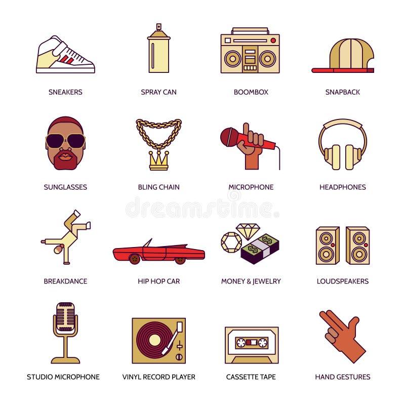Iconos del música rap fijados ilustración del vector