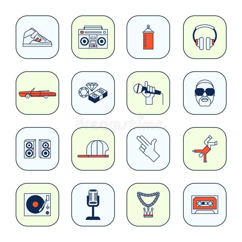 Iconos del música rap fijados libre illustration