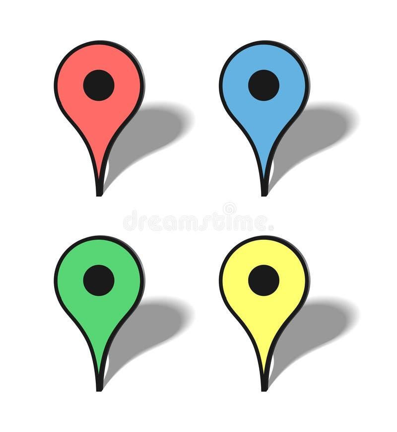 Iconos del mapa de los marcadores ilustración del vector