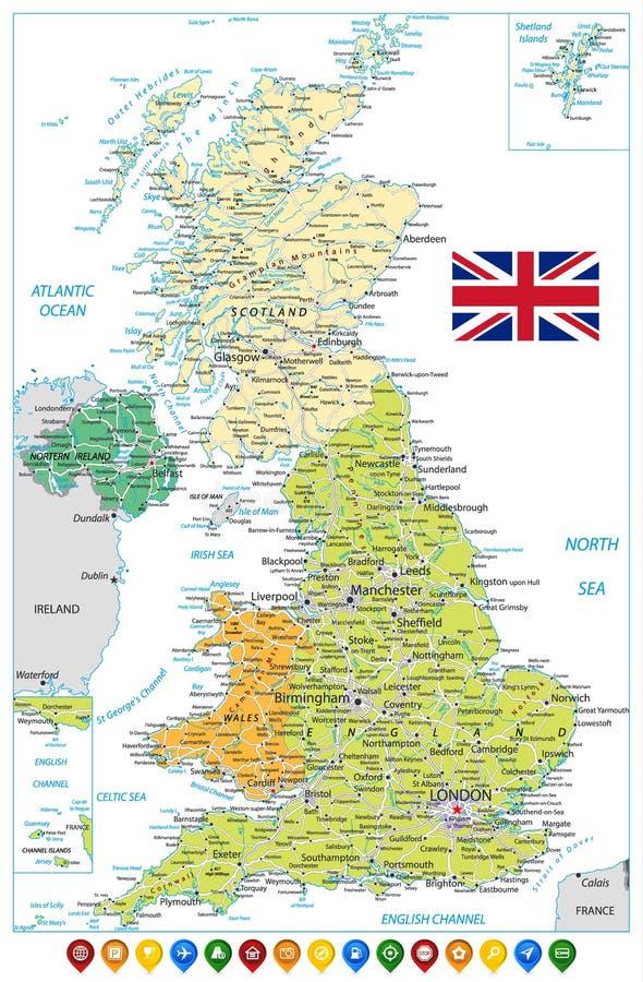 Iconos del mapa y de la navegación de camino de Reino Unido ilustración del vector