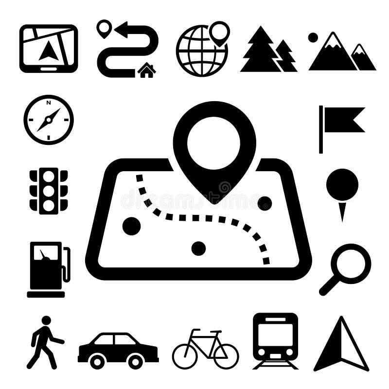 Iconos del mapa y de la ubicación fijados libre illustration