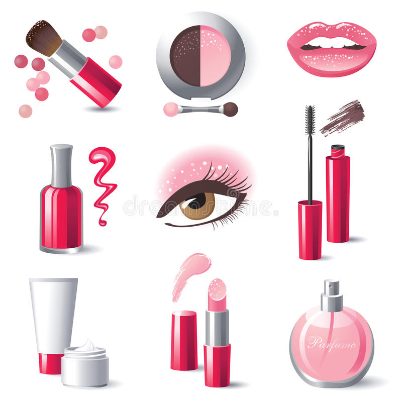Iconos del maquillaje libre illustration