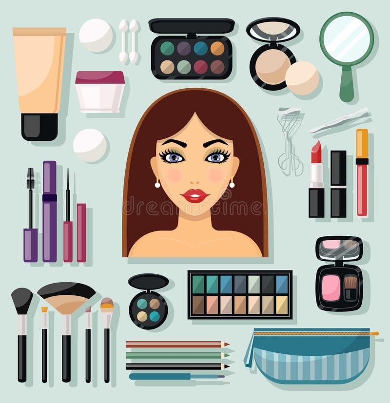 Iconos del maquillaje planos ilustración del vector