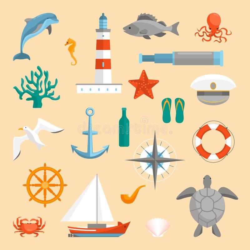 Iconos del mar del color de la historieta fijados Vector stock de ilustración