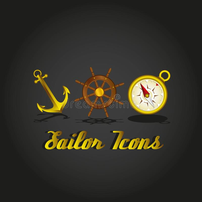 Iconos del marinero ilustración del vector
