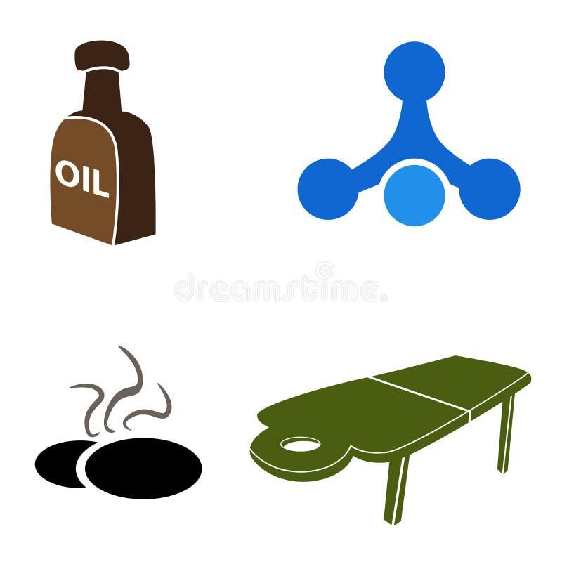 Iconos del masaje ilustración del vector