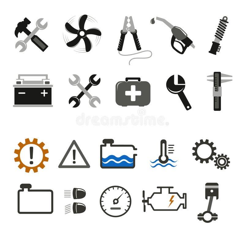 Iconos del mecánico y del servicio de coche stock de ilustración