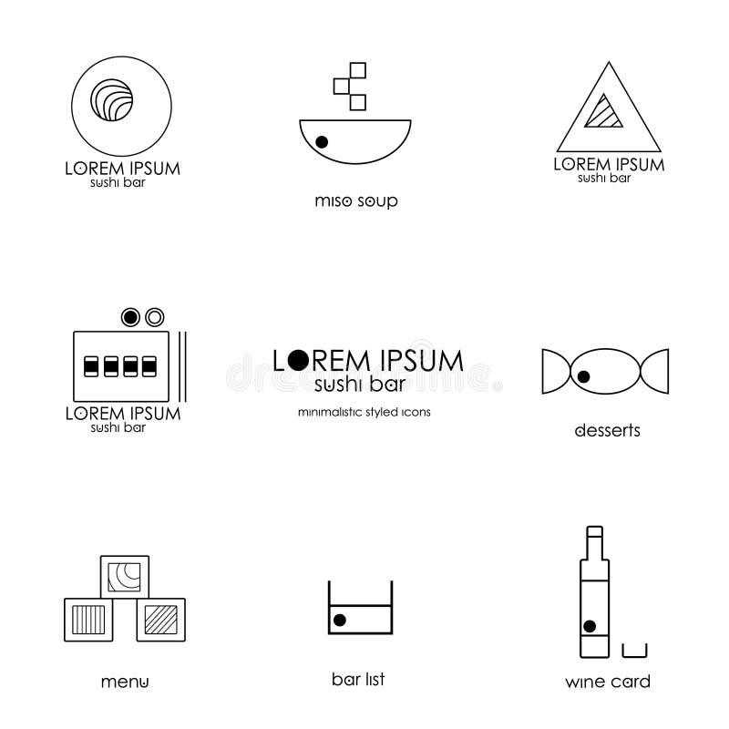 Iconos del menú de la barra de sushi de Minimalistic y barra de sushi ilustración del vector