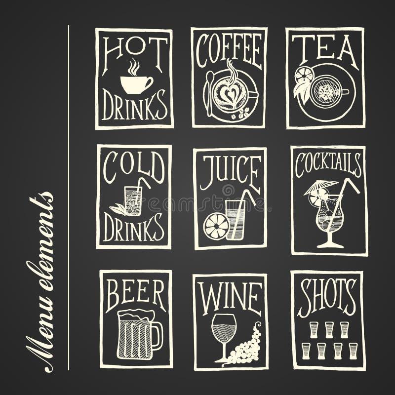 Iconos del menú de la pizarra - bebidas ilustración del vector