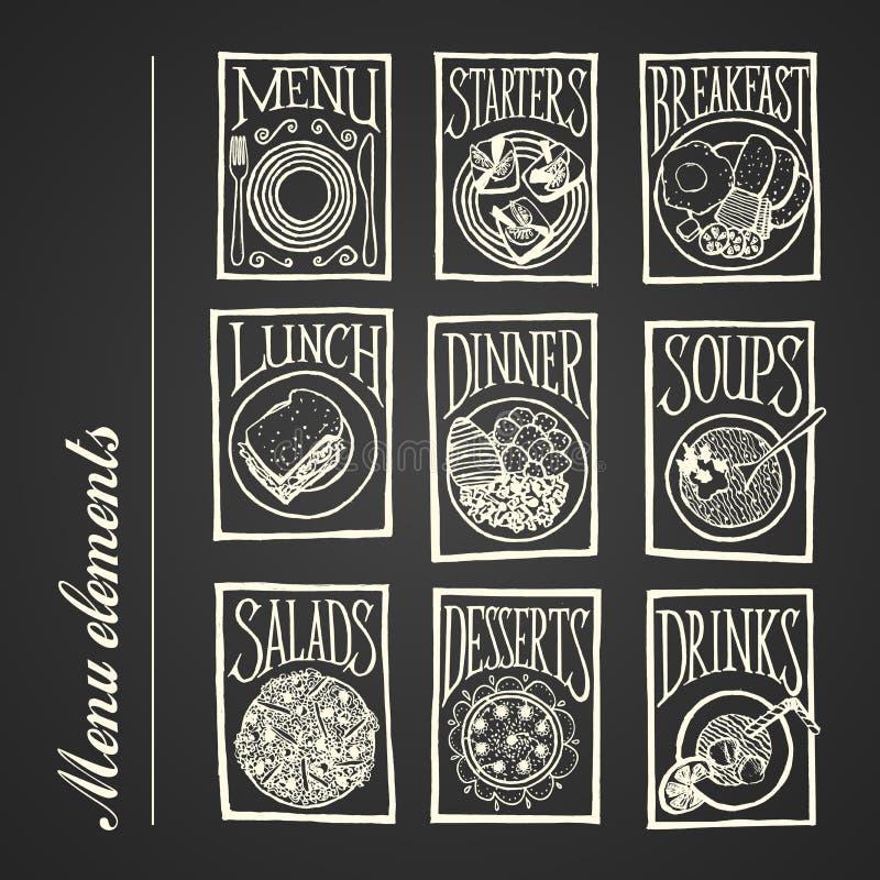 Iconos del menú de la pizarra - comidas stock de ilustración