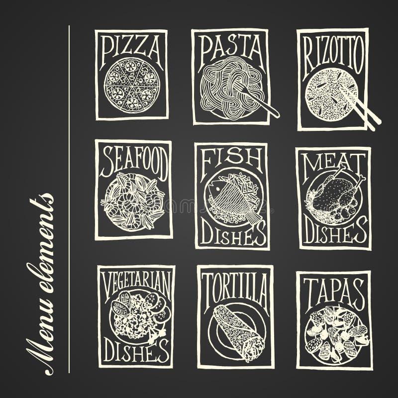 Iconos del menú de la pizarra - platos stock de ilustración