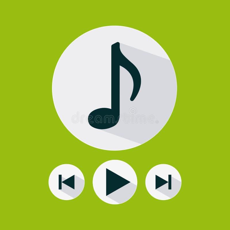 Iconos del menú de los ajustes de la música stock de ilustración