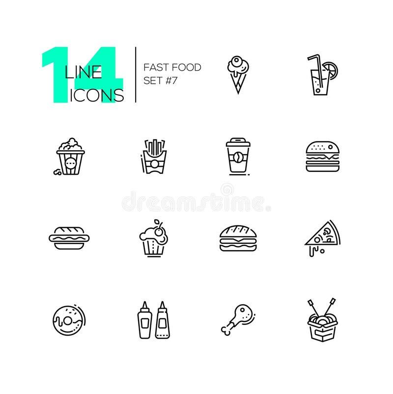Iconos del menú del café de los alimentos de preparación rápida fijados stock de ilustración