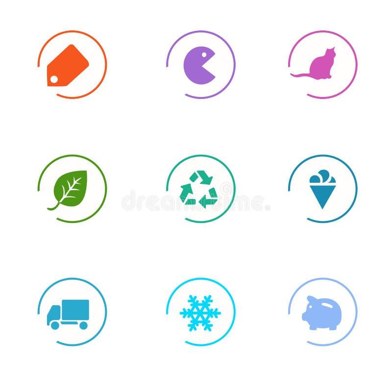 Iconos del mercado fijados imagen de archivo