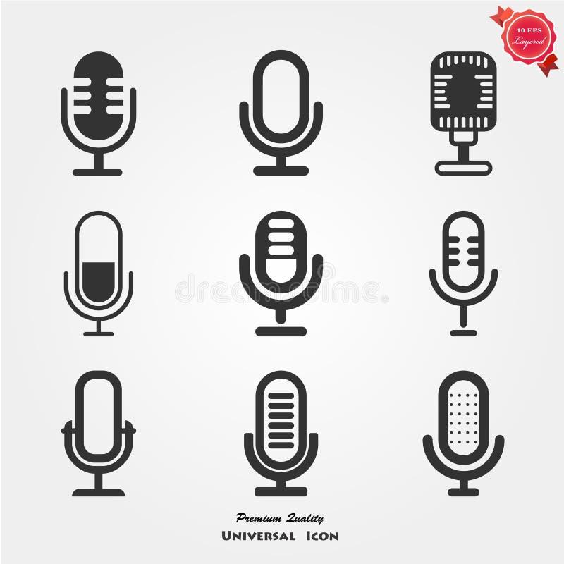 Iconos del micrófono stock de ilustración