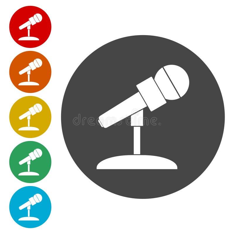 Iconos del micrófono fijados ilustración del vector