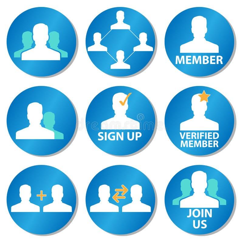 Iconos del miembro ilustración del vector