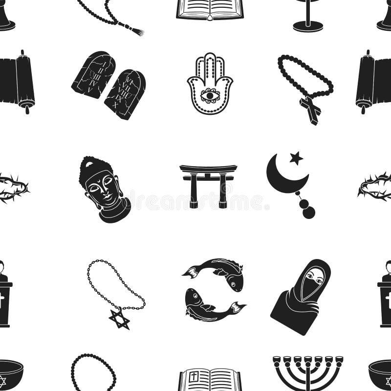 Iconos del modelo de la religión en estilo negro Colección grande de ejemplo de la acción del símbolo del vector de la religión ilustración del vector