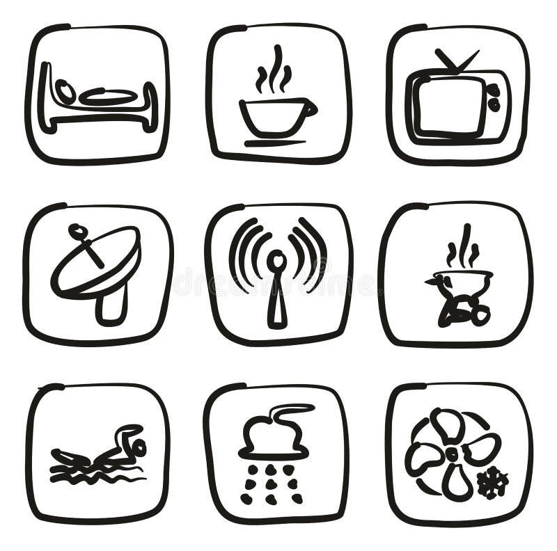 Iconos del motel o del hotel a pulso ilustración del vector