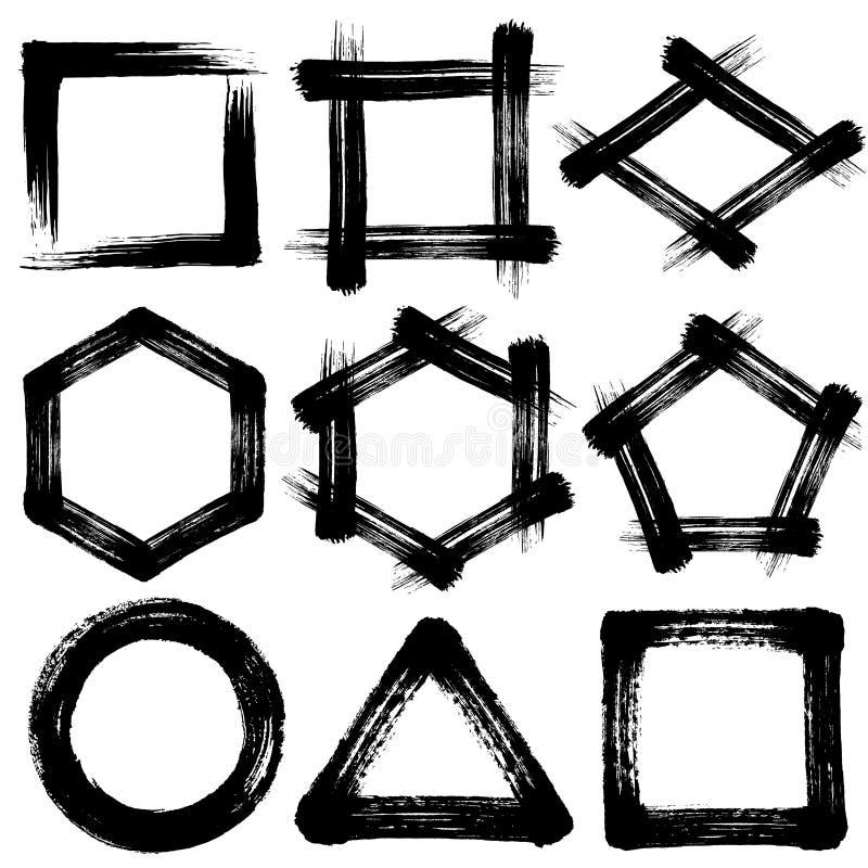 Iconos del movimiento del cepillo pentágono y hexágono triángulo cuadrado del círculo stock de ilustración